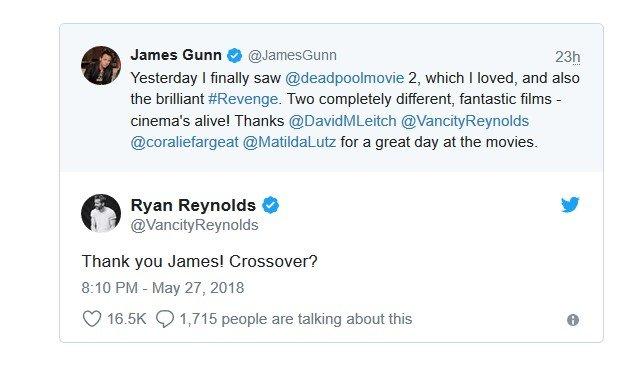 Райан Рейнольдс иДжеймс Ганн готовят кроссовер «Дэдпула» и«Стражей Галактики»